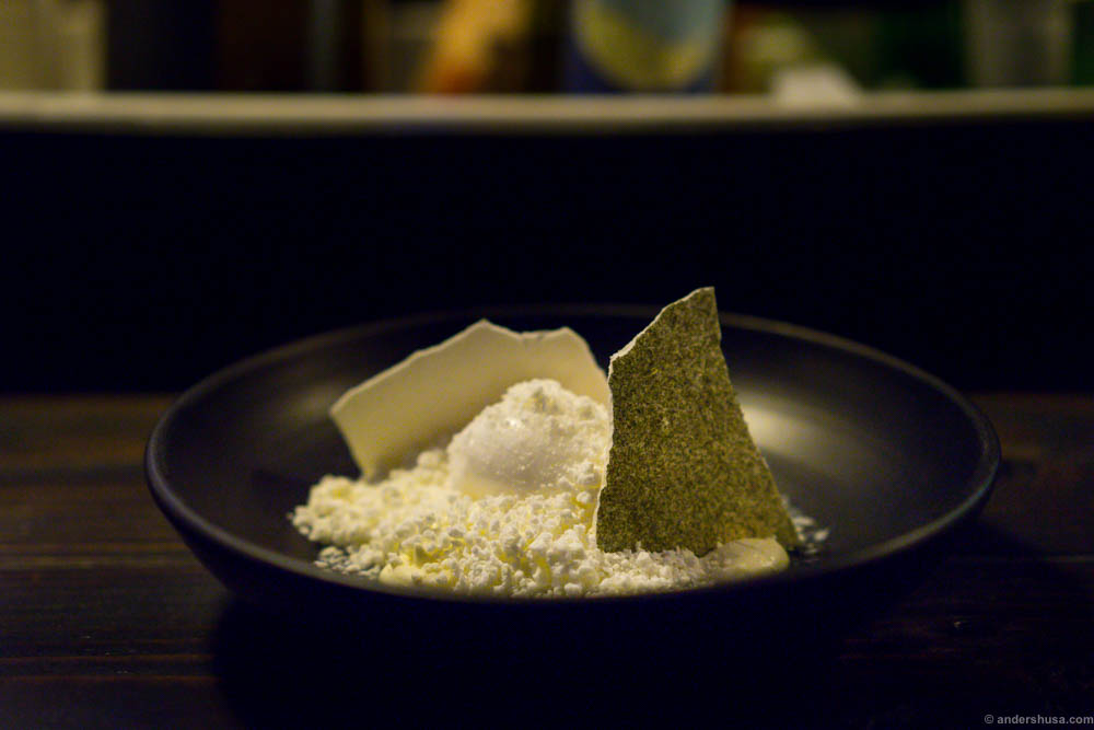 Sorbet of gherkins, meringue and frozen milk. So delicate and tasty, and it looks like a winter landscape.