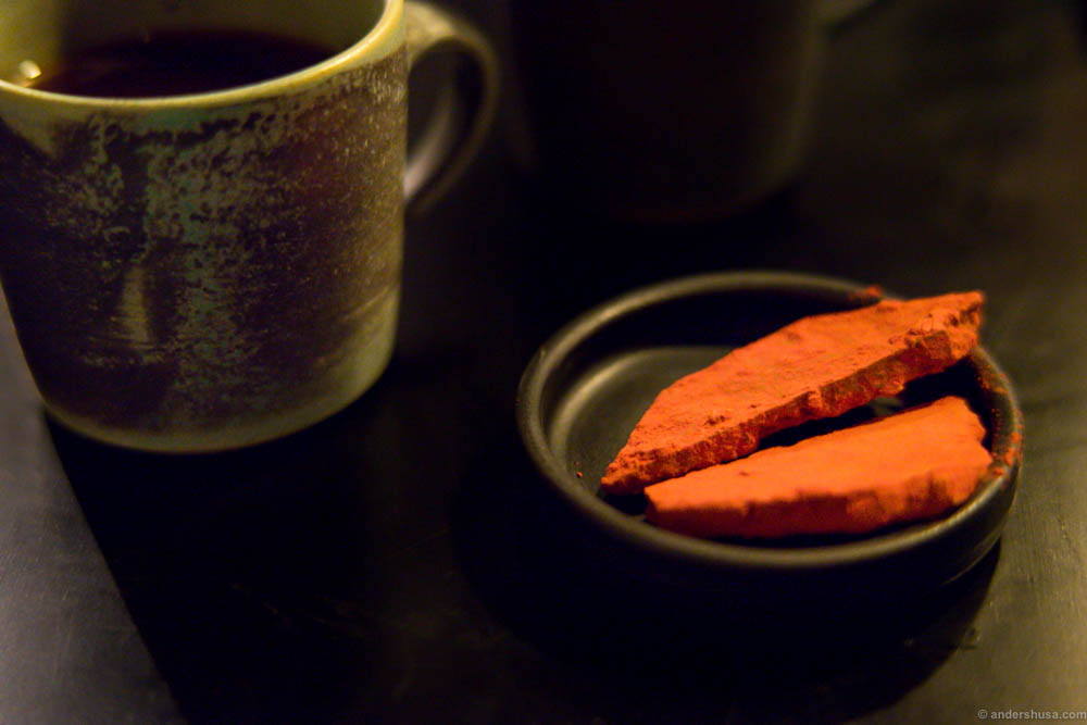 Silly good petit four to the coffee. Chocolate-dusted with freeze-dried raspberry powder