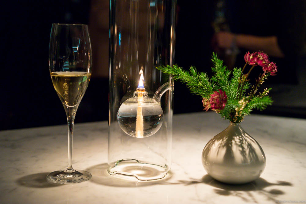 The atmosphere at Geranium. Happy bubbles, candle lights and beautiful decorations.