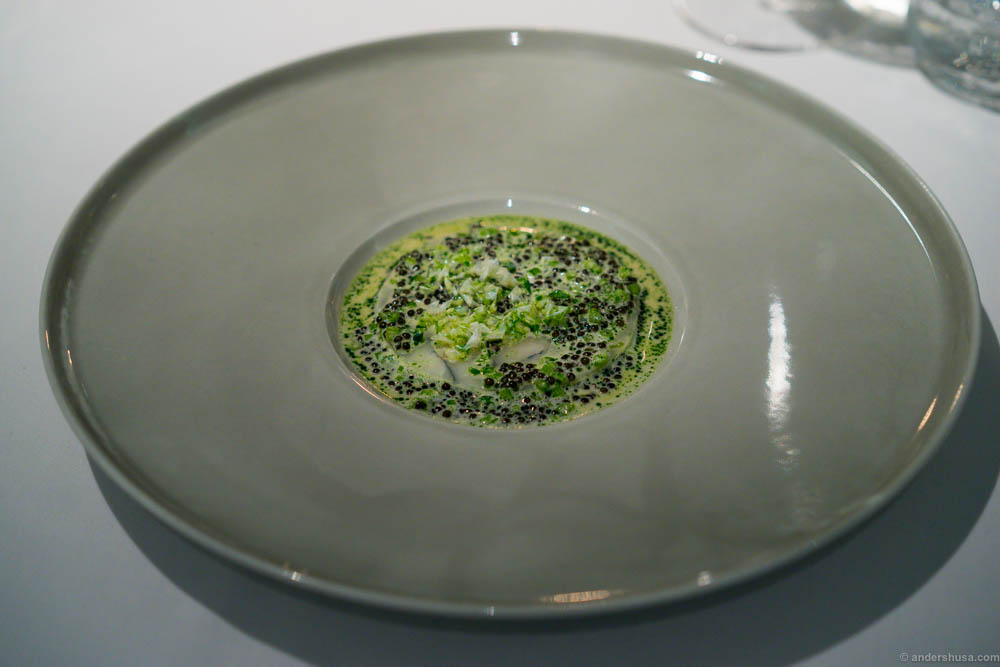 Salted hake, parsley stems & Finnish caviar in buttermilk