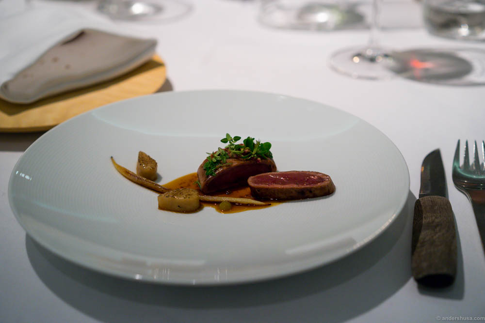Breast of wild duck, grilled pear, salsify, wood sorrel & sour pine