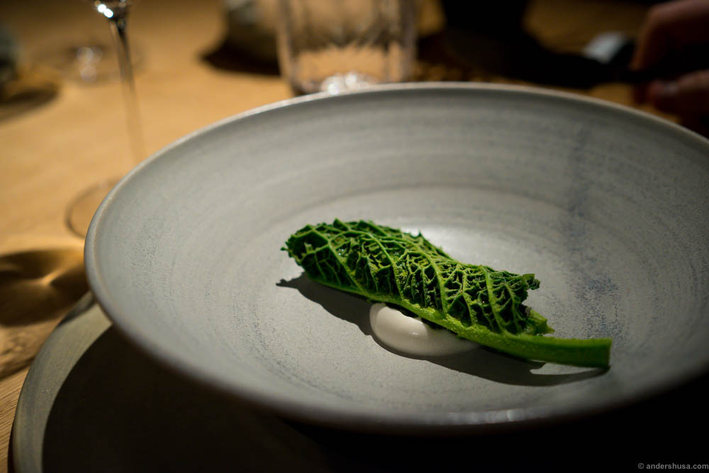 Grilled Danish oysters, kale and fermented pea juice