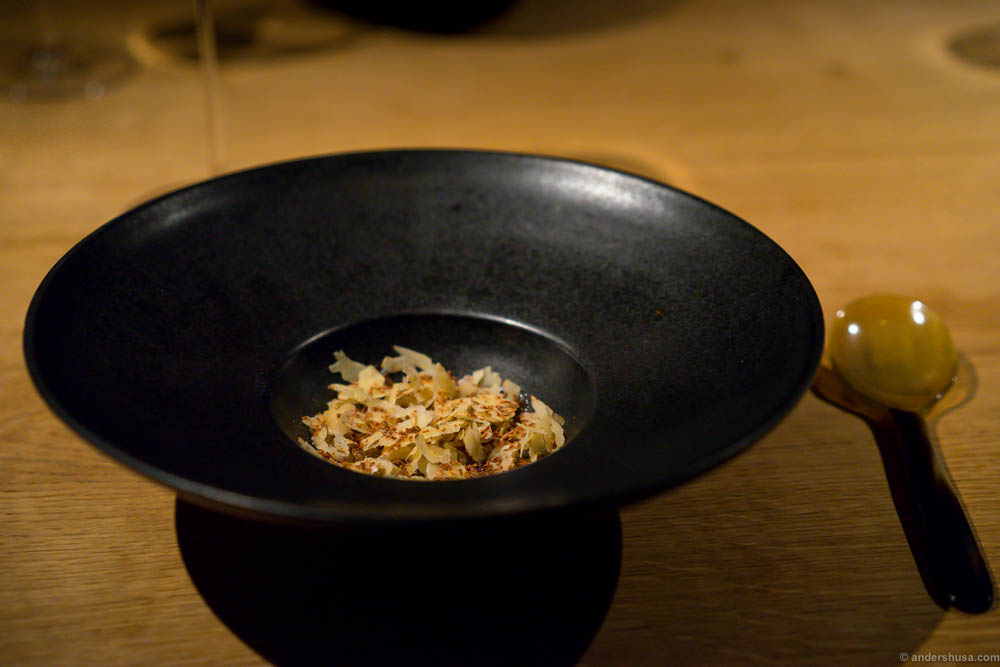 Langoustine, walnuts, sea weed and salted scallop roe