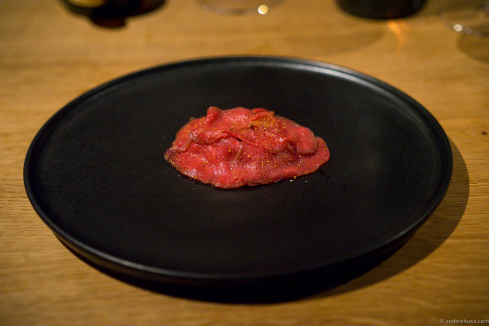 "Matured raw sirloin, ""Havgus"" cheese, new and preserved mushrooms. One of the best new dishes of the Kadeau kitchen!"