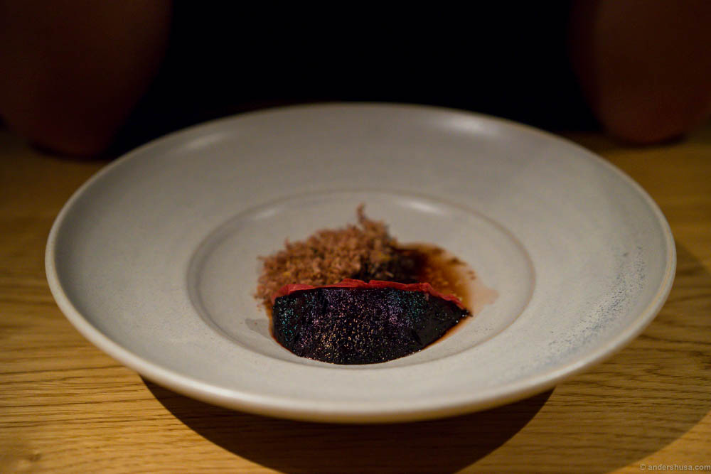 Ember baked beetroot, grilled blue cheese, beach rose and shaved lamb heart