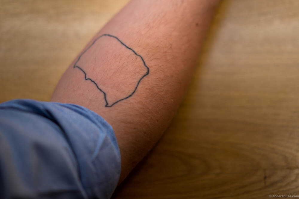 Magnus has tatooed the island of Bornholm on his right arm