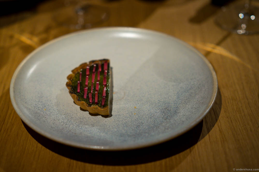 Caramelized buttermilk tart, spruce cones and primula syrup
