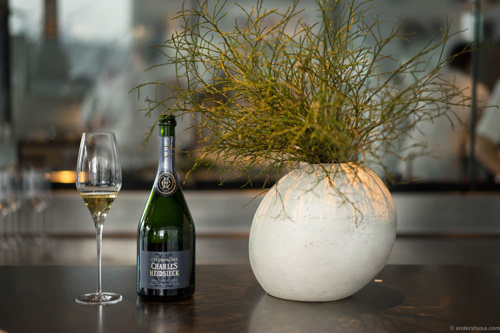 A Charles Heidsieck Champagne to kick of a Saturday lunch at the Chef's table