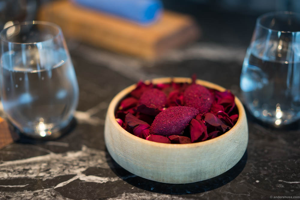 Pickled red onion filled with yogurt, dusted with roses. This was a brand new snack to kick off the meal, replacing the two classic dishes with Nýr that both started and ended the meal.
