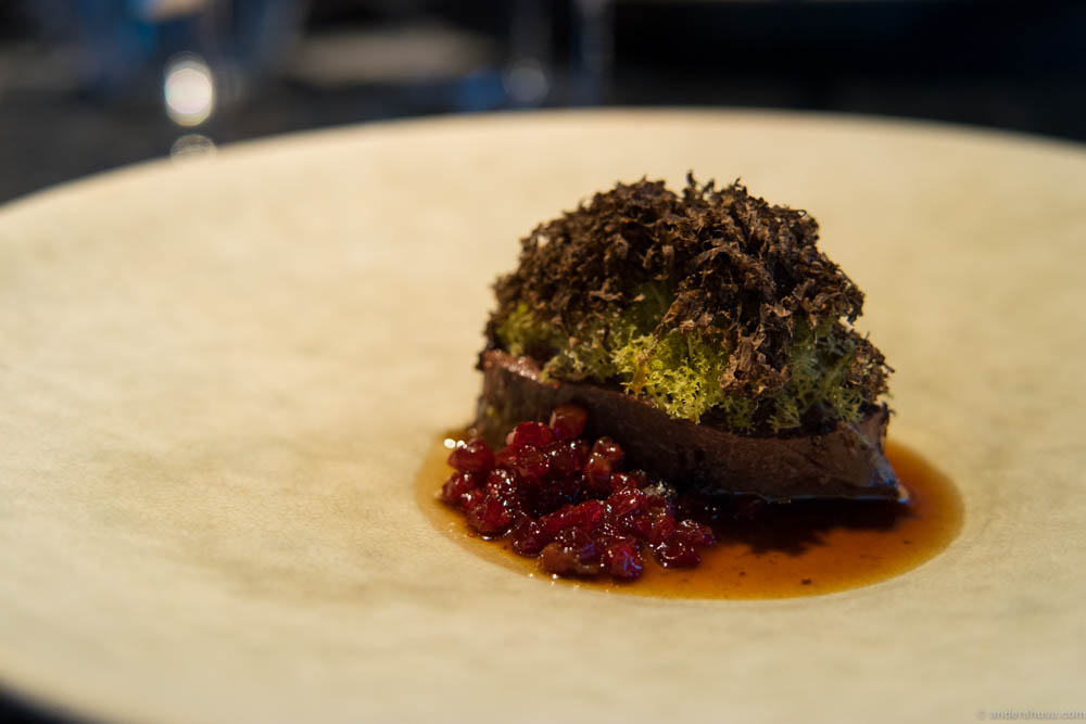 Reindeer filet braised with juniper, served with reindeer lichen, truffle and lingonberries