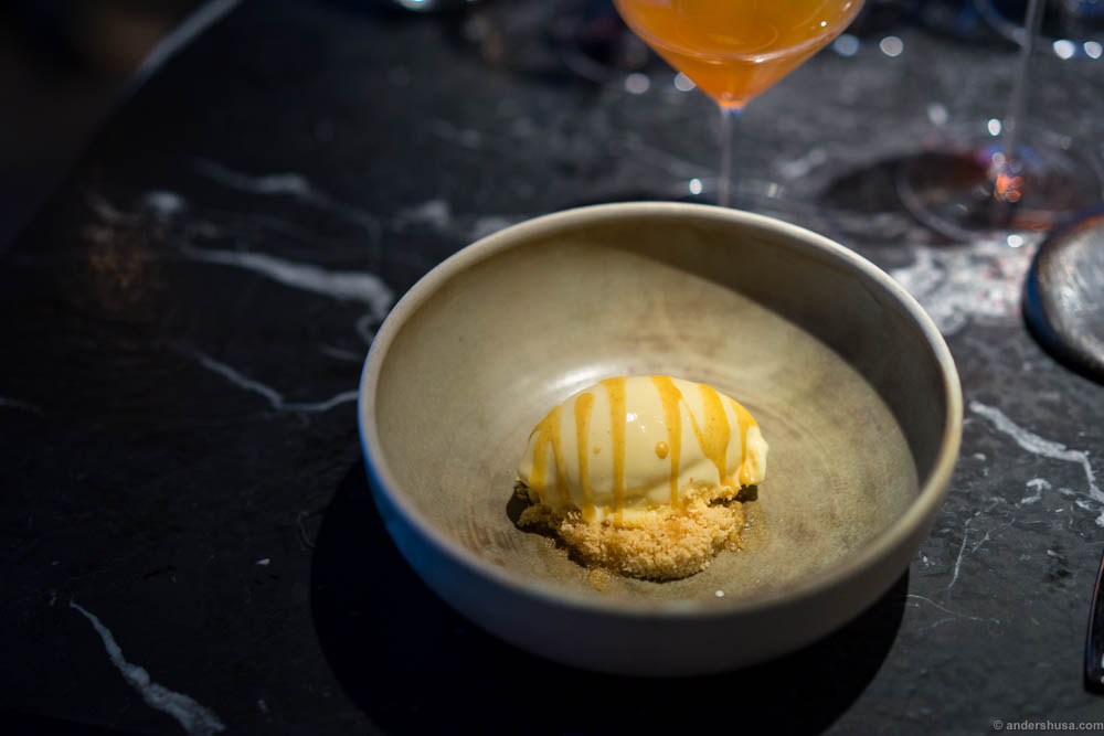 A final signature dish, which I just cannot leave Maaemo without eating. Fuck me, this is amazing! Brown butter ice cream, coffee and hazelnuts, topped with more butter from Røros