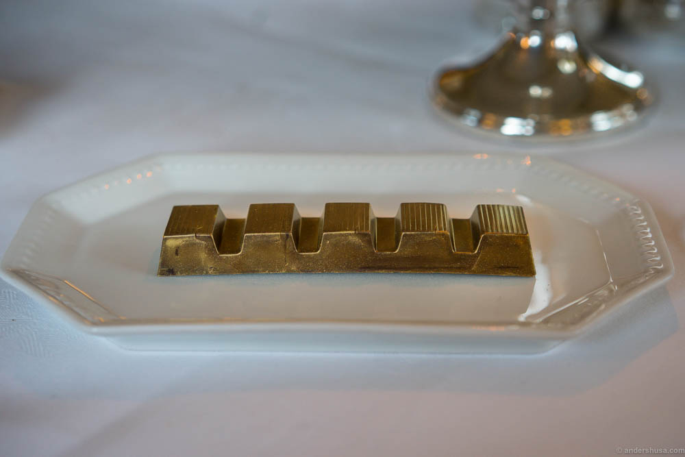 A chocolate gold bar