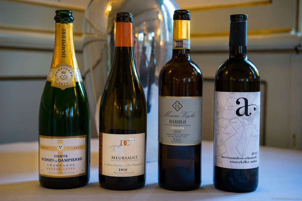 The bubbles and wines we had at lunch