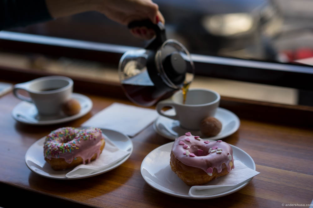 Coffee and doughnuts for breakfast at Java