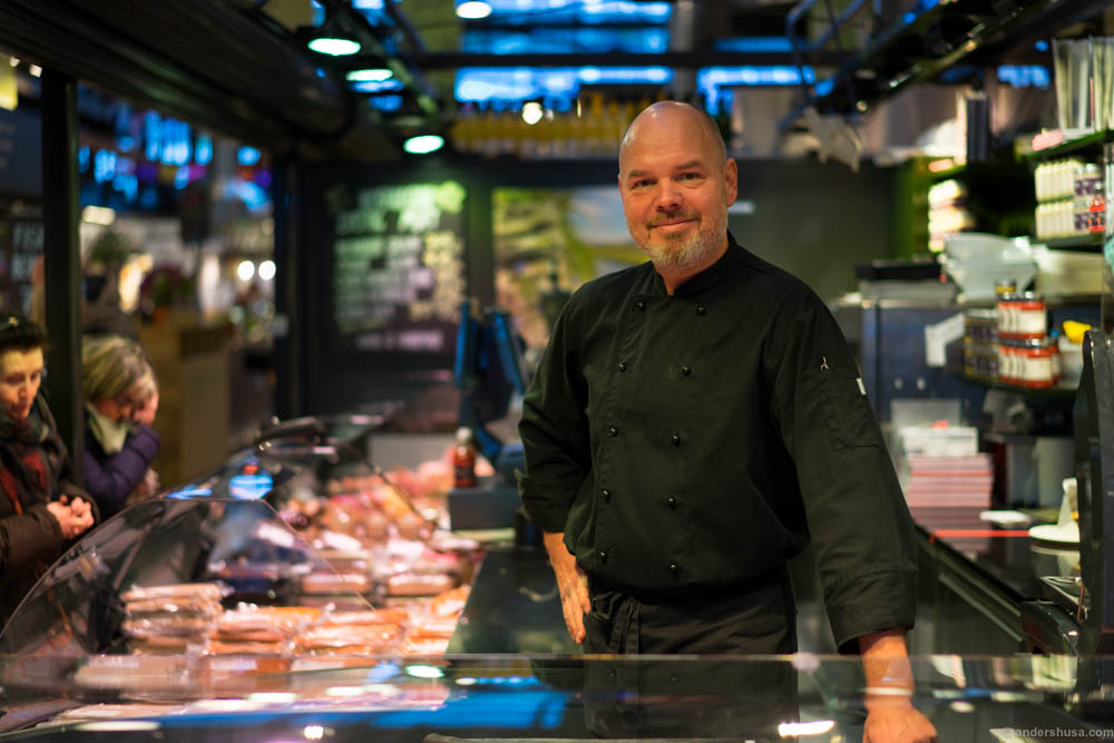 """The butcher formerly-known as """"Grillsjefen"""" in his glory days at Anni's Pølsemakeri"""