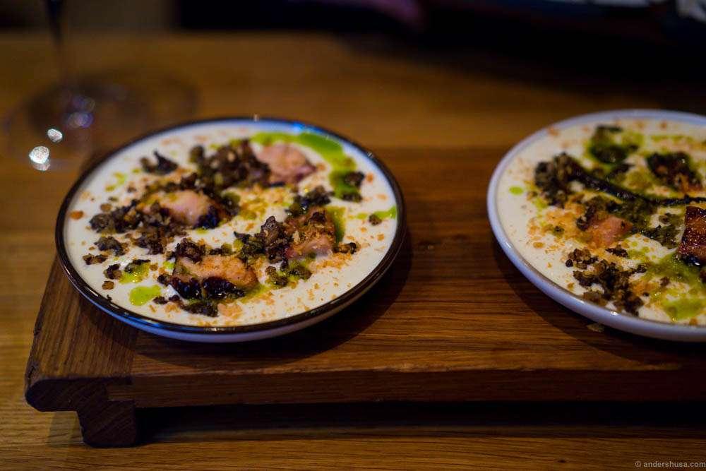 Grilled octopus, potato spuma, morcilla & chive oil. Morcilla means blood sausage.