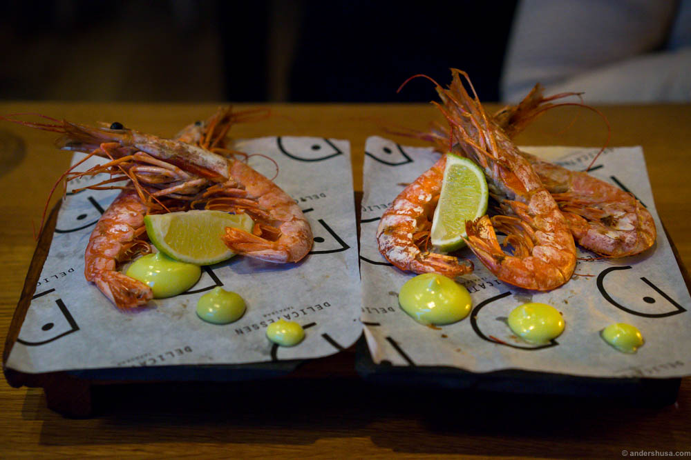 Grilled wild caught Argentine red shrimp, lime and coriander mayo. Simple. Delicious. Messy.