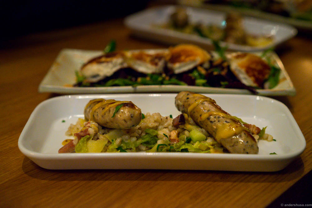 Homemade sausages with truffle, barley, Savoy cabbage & bacon. My least favorite dish of the day.