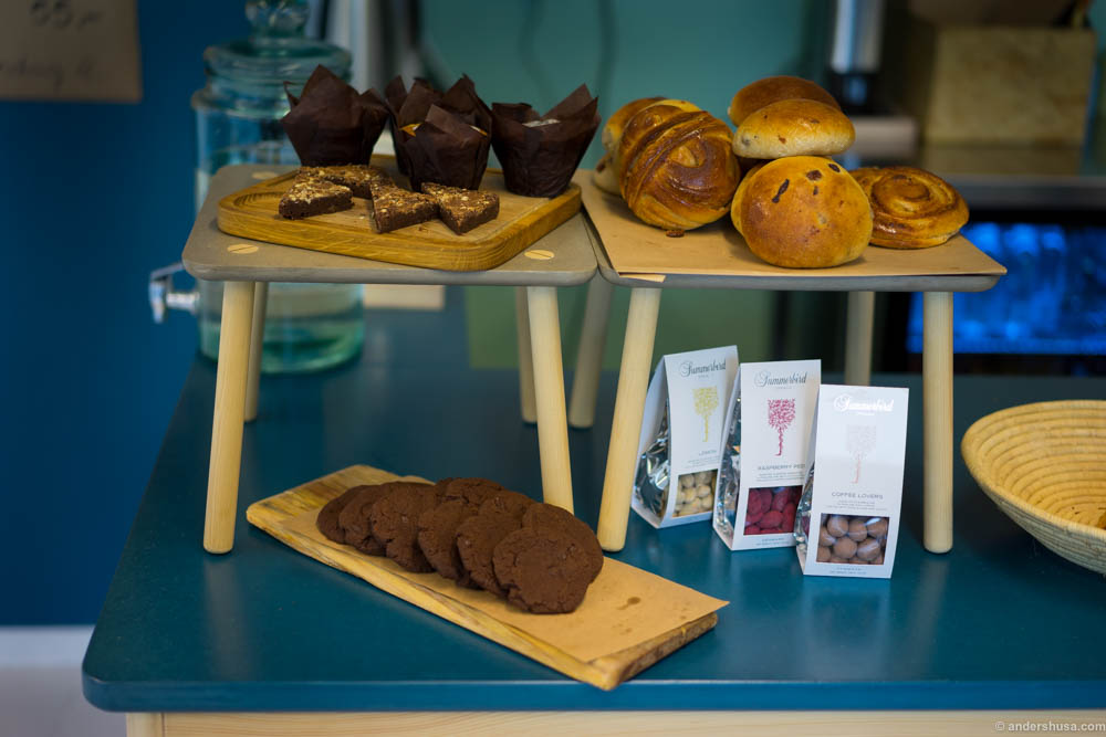 Sweet stuff from Andrea the baker, and organic Summerbird chocolates.