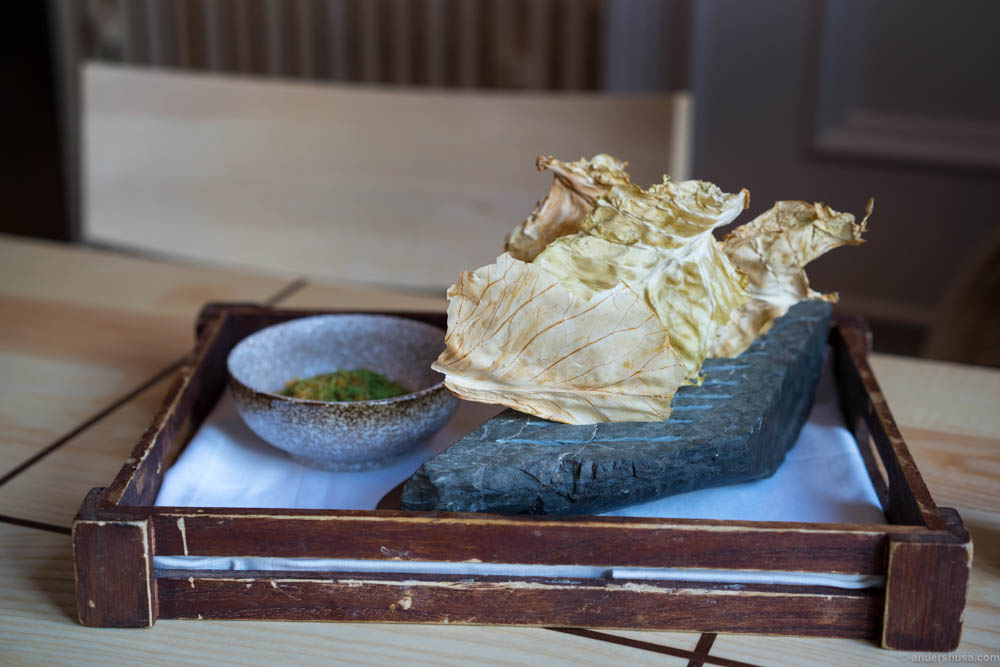 Cabbage chips with a dip. An interesting dish, but in my opinion they need a more flavorful dip.