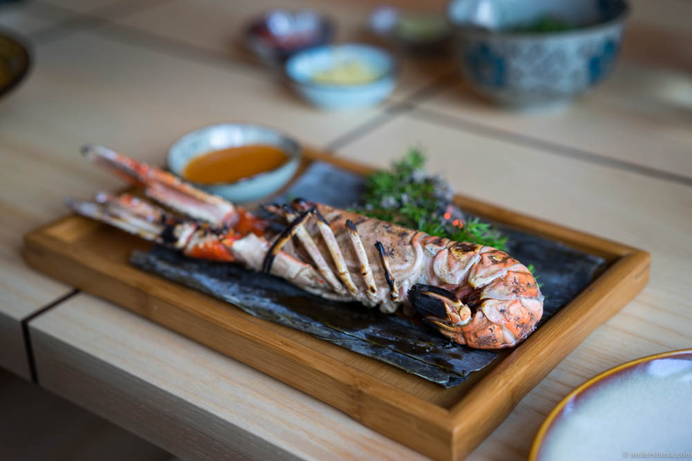 The grilled langoustine with a dip of all the good flavors of Asia