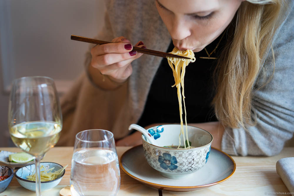 Slurping noodle soup like a pro