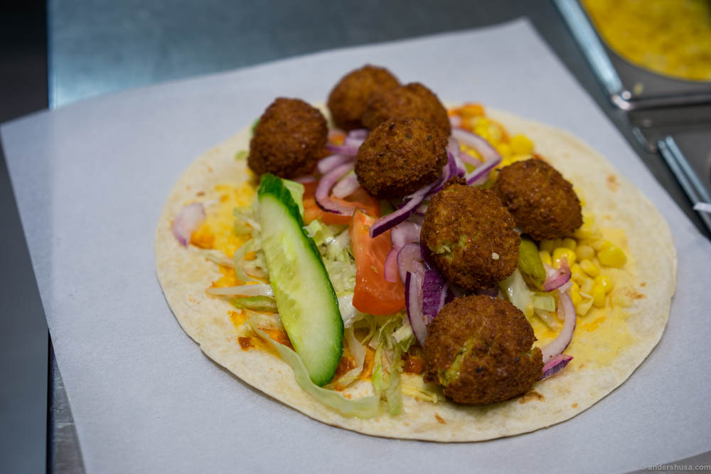 Ask for a double to get twice the amount of falafel balls, for just a slight increase in price.