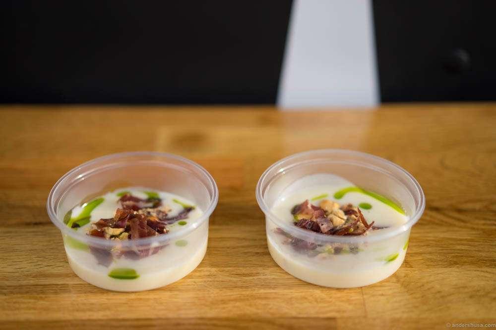 "Celeriac soup with hazelnuts and ""fenalår"" cured lamb's leg"
