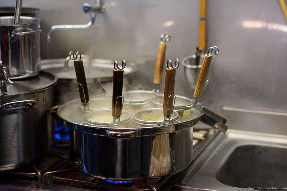 Noodles boiling
