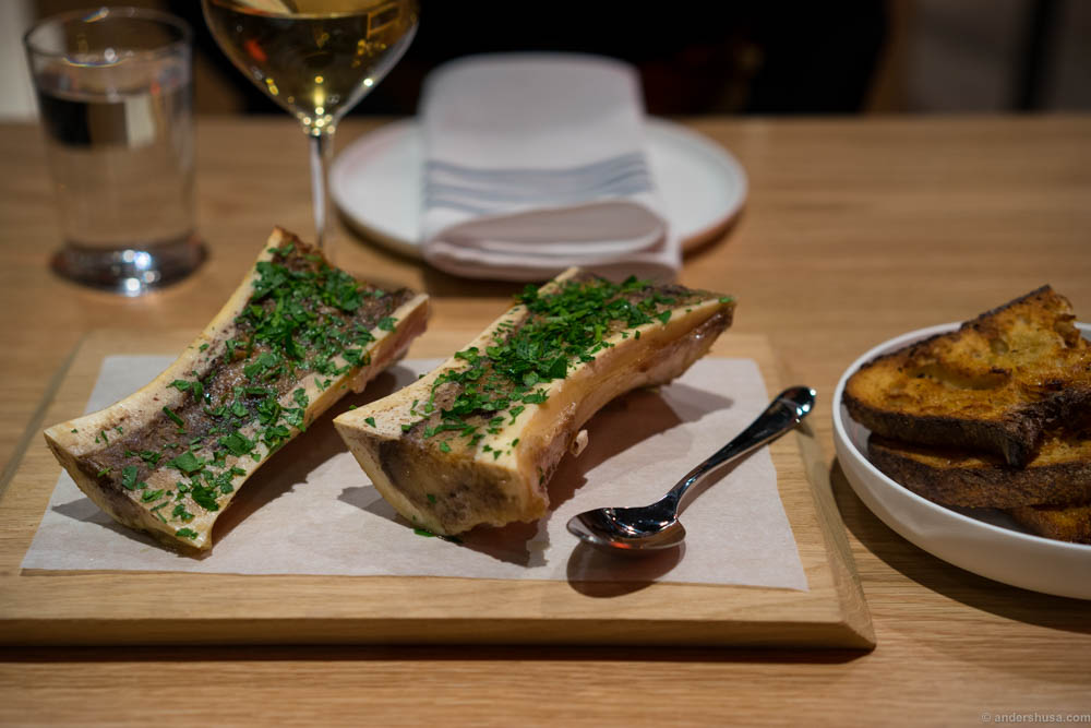 Bone marrow, parsley, and grilled sourdough bread.