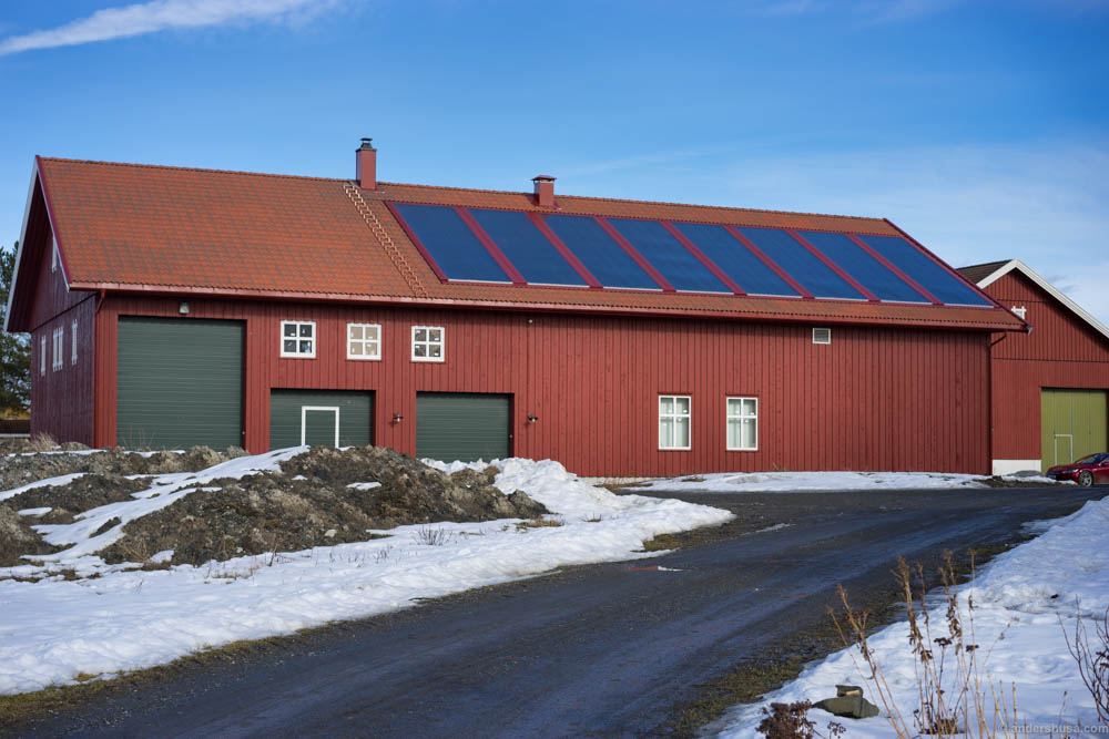 The barn with solar panels on the roof