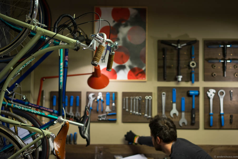 Get your bike fixed while you relax with a glass of wine