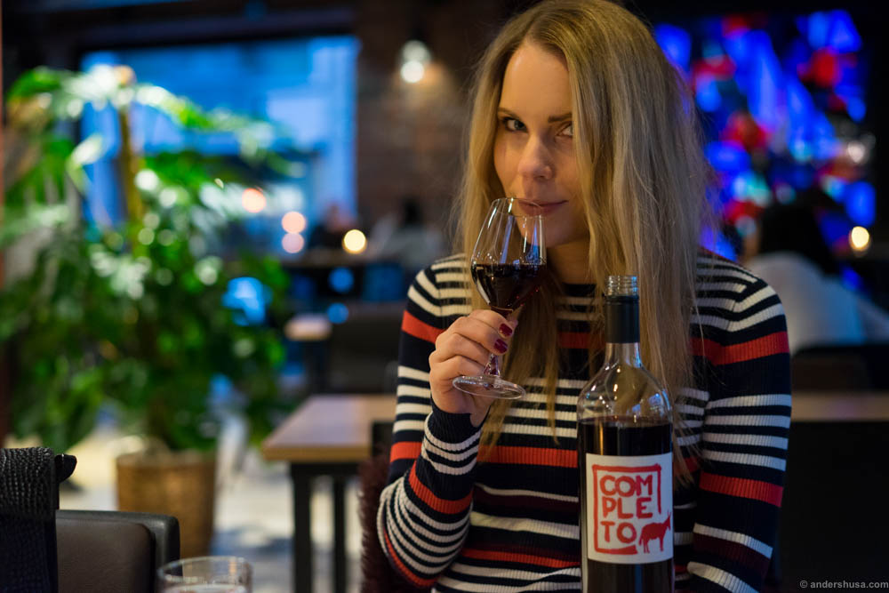 It's important to match your clothes with the bottle of wine you are drinking.