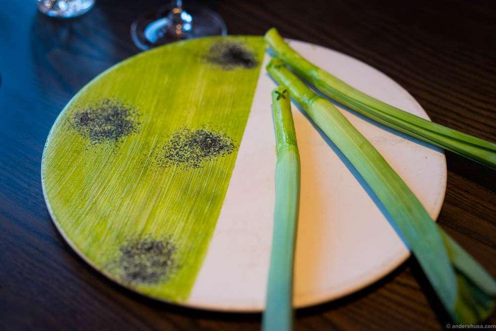 Biodynamic leek with parsley and hay