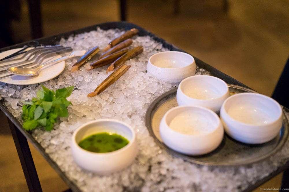 Razor clams getting prepared for serving