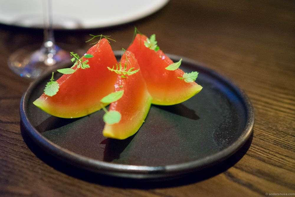 Watermelon with yuzu and sake. Refreshing!