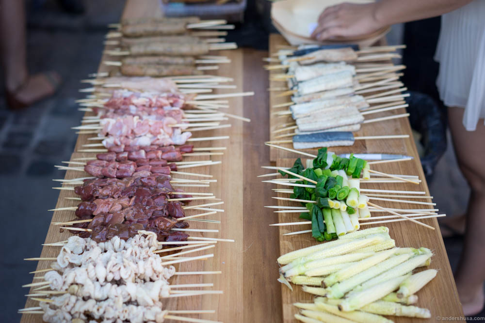 Chicken meat, skin, hearts & livers, tskune, eel, spring onions and baby corn skewers.