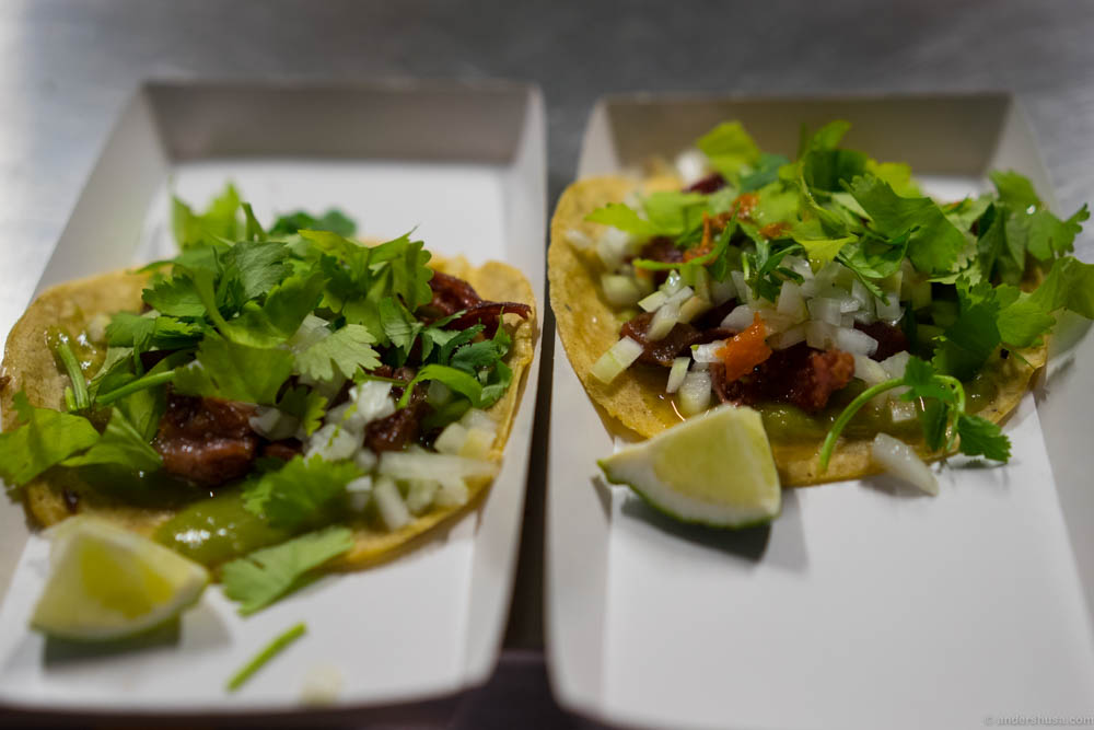 The very last tacos of the night. Jon had saved these babies for himself. The softest part of the veal tongue. But he was overwhelmed by our dedication to cycle all the way out here and happily served them to us.
