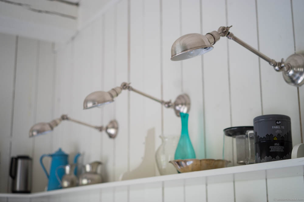 The old kitchen in the apartment with vintage lamps