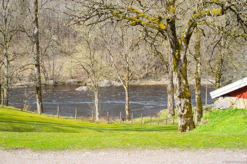 The river runs past the farm