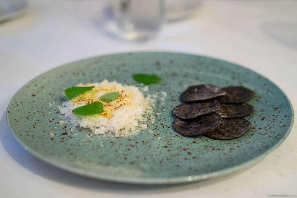 Dried cod floss with Holtefjell cheese & vinegar. Mini malt tortillas and lemon balm