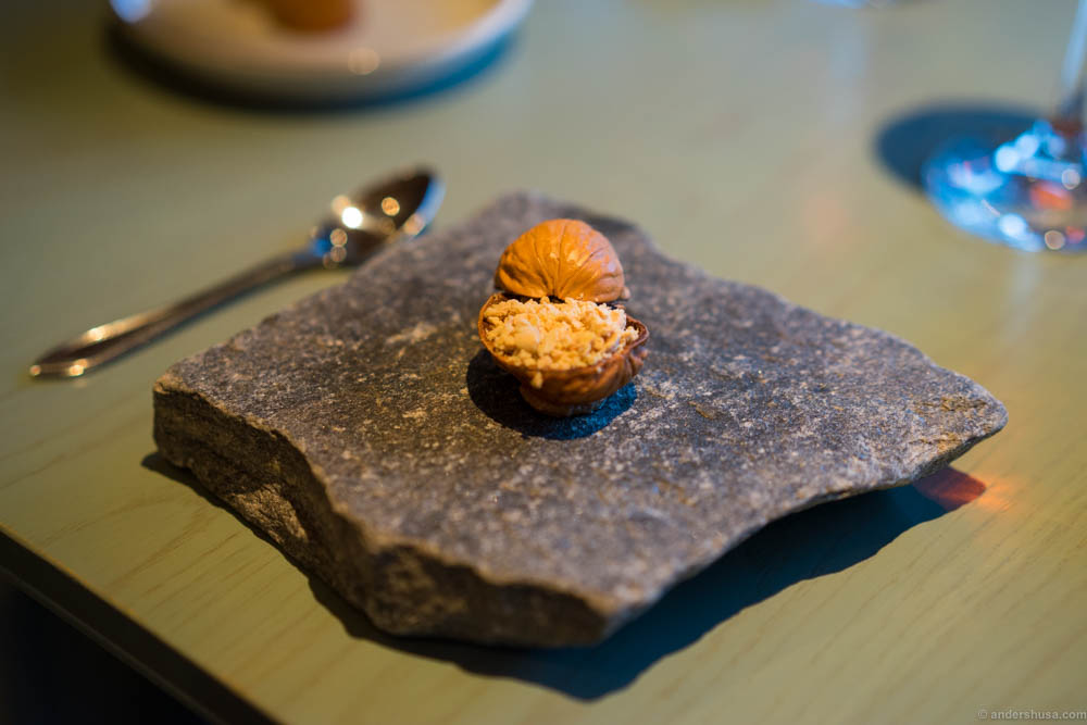 A walut snack filled with foie gras, walnut and lingonberries