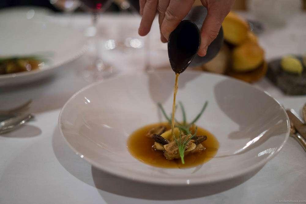Wild boar and foie gras ravioli, Jerusalem artichoke & morel broth. F*ck, this was delicious!