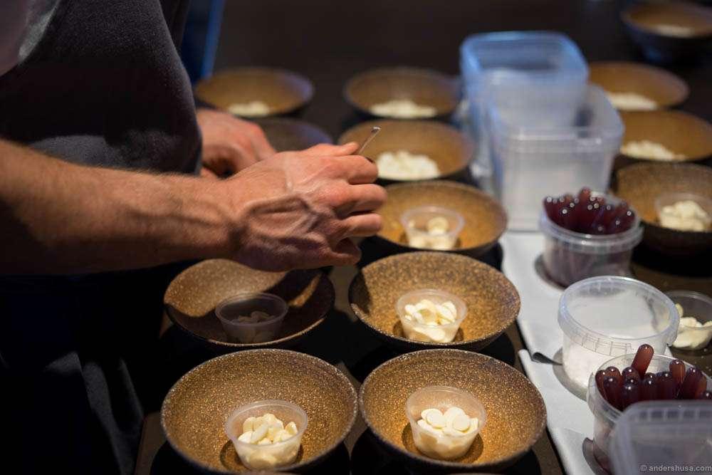 Preparing the macadamia dish