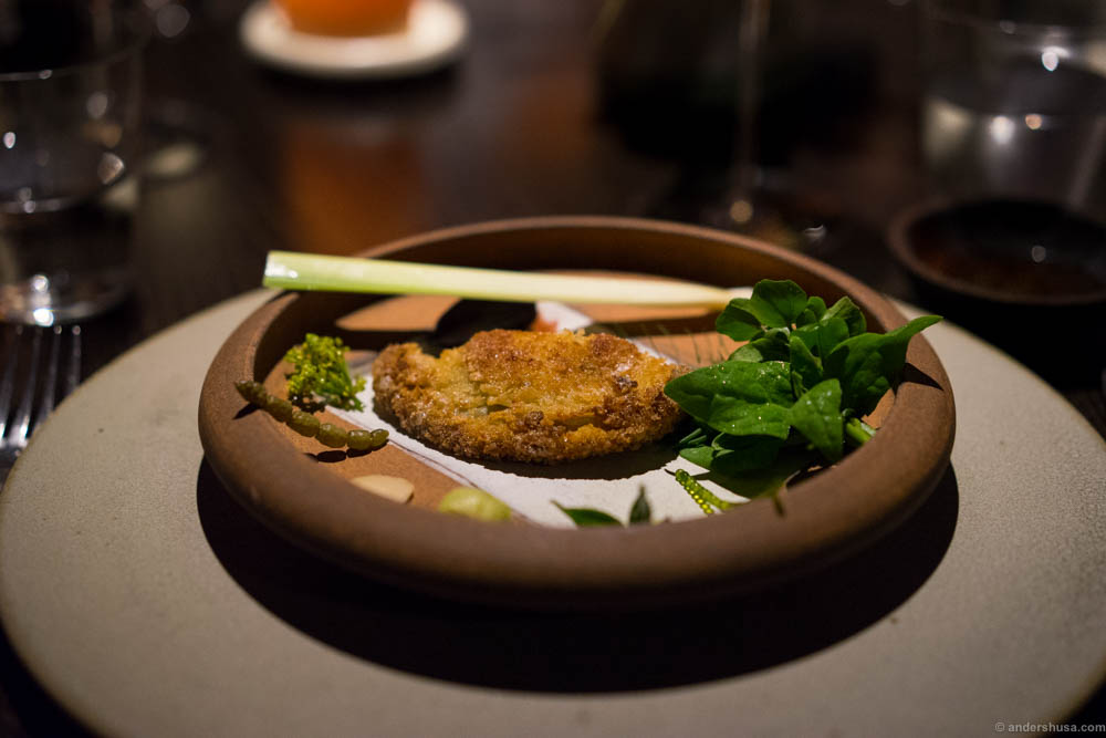 Abalone schnitzel and bush condiments. Notice the Neptune's necklace on the left side
