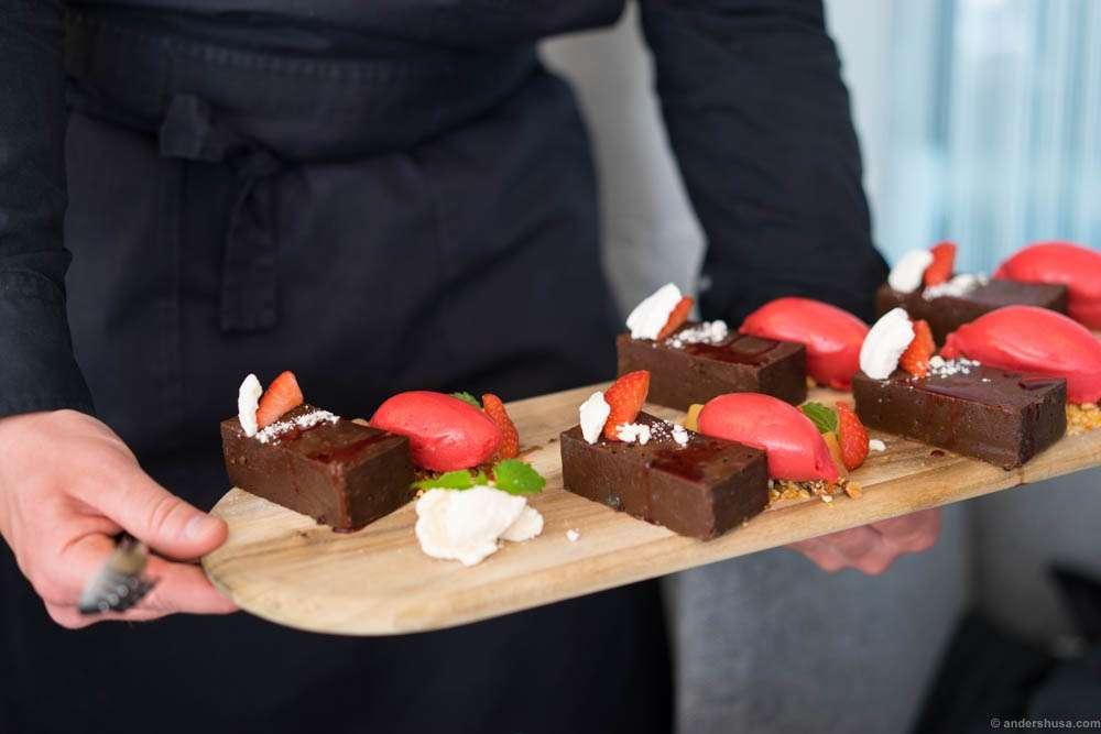 Chocolate Nemesis cake and strawberry sorbet