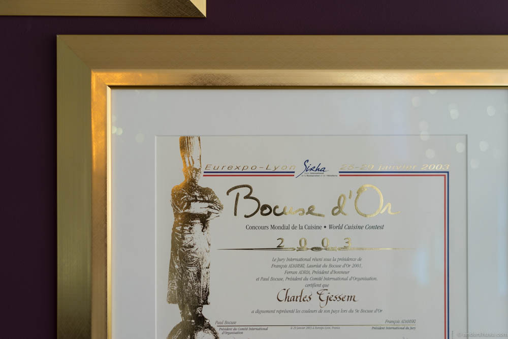 The proof! Charles Tjessem's diploma for winning Bocuse d'Or in 2003