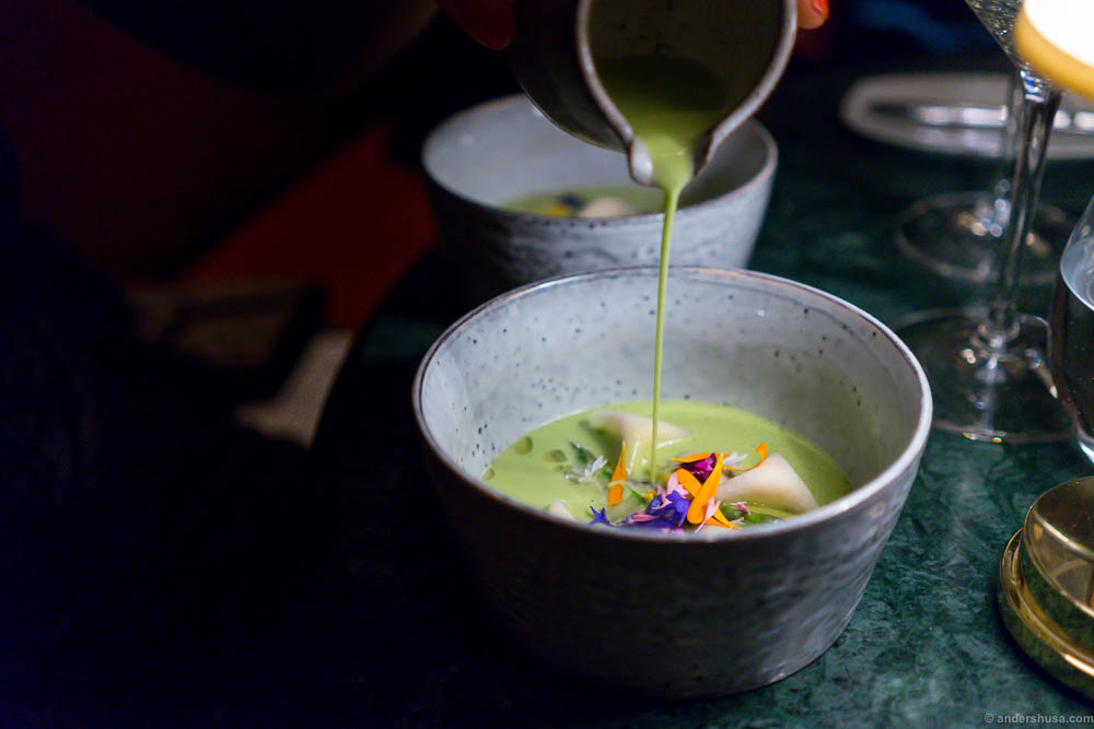 Green tomato soup with oysters, turnips, horseradish & flowers from Tuna gardens