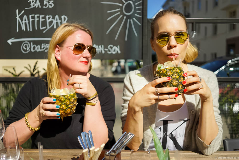 Pineapple cocktails in the sun at BA53 with Helle's Kitchen and my girl Hedda wearing Erik's sunglasses