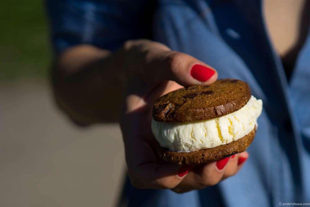 The Ice Crime sandwich. Vanilla ice cream between biscuits